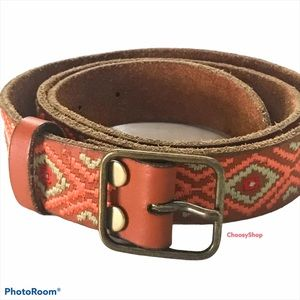 LUCKY SW Tribal Boho Embroidered Leather Belt